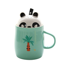 2018 Panda Cups Ceramic Sprout Animal Coffee Mugs Milk Mugs Tea Cup With Spoon,lid Thermos Water Bottle 400ml For Lovers Gifts