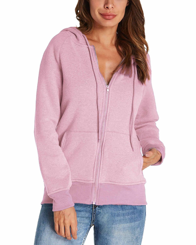 Musim Gugur Wanita Kasual Hoodies Sweatshirt Longgar Lengan Panjang Warna Solid Sweatshirt Ukuran Besar Desain Ritsleting Hangat Hoodies 2XL