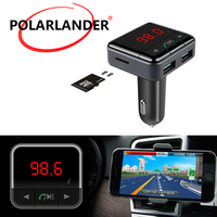 Bluetooth Car Kit MP3 PlayerAudio Wireless FM Transmitter USB Support SD Tf Card LCD Display Car Charger