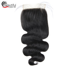 Beautiful Queen 10A Peruvian Human Hair TRANSPARENT Lace 5x5 Body Wave Lace Closure Free/Three Part PerPlucked Virgin Hair Lace(China)
