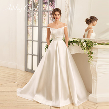 Ashley Carol Satin A-Line Wedding Dress 2019 Graceful