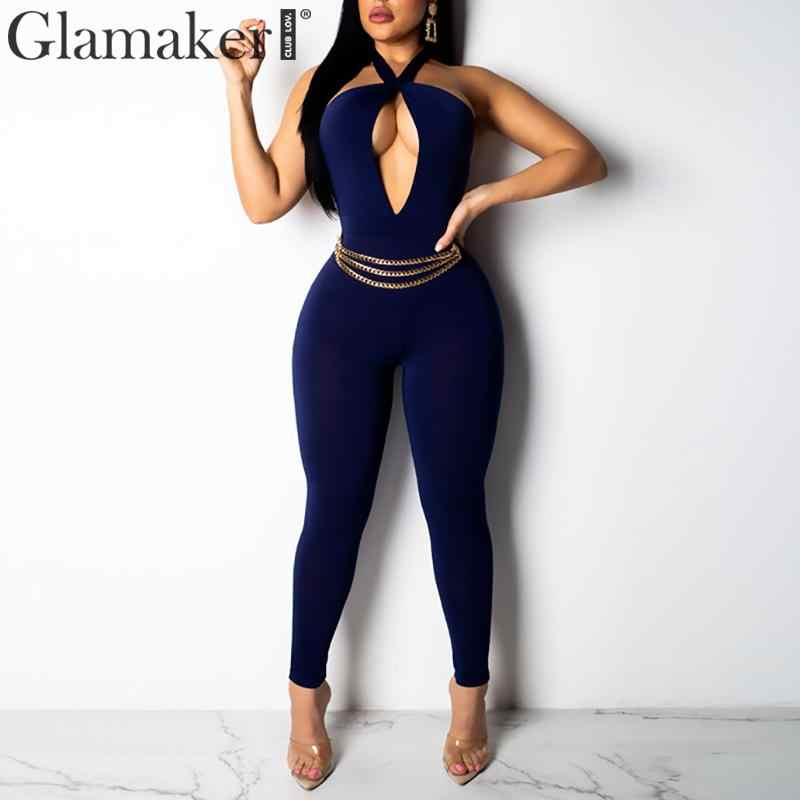 Glamaker Sexy halter plus size party long jumpsuit Women hollow out slim jump suit romper Female summer solid backless overalls