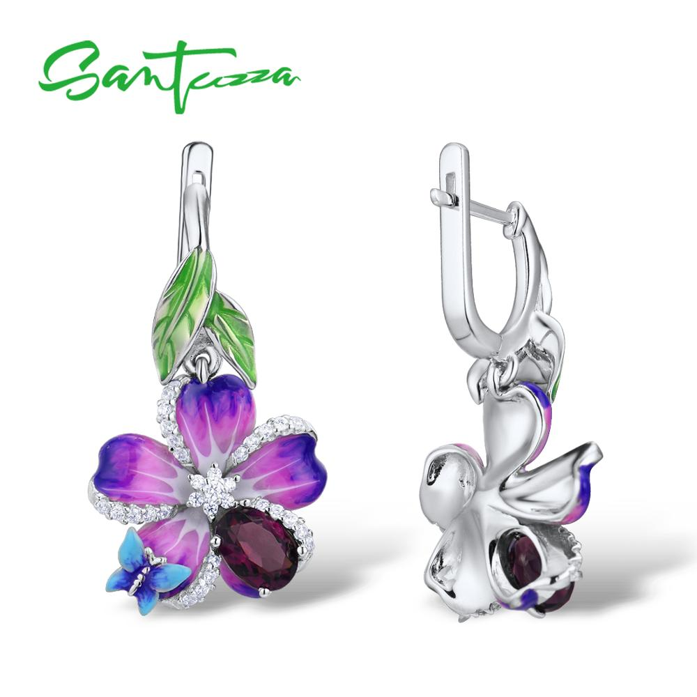 SANTUZZA boucles d'oreilles en argent pour femmes véritable 925 argent Sterling violet fleur papillon boucles d'oreilles bijoux de mode émail à la main - 3