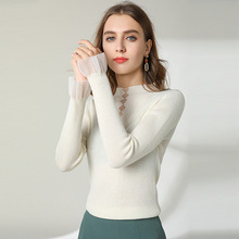 Pullover mujer Spring New Sweater flare sleeve Sexy Perspective 50%wool blended knitted sweater OL Slimming 1908