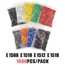 1000pcs/Pack E1508 E1510 E1512 E1518 Insulated Cord End Terminal Wire Connector Crimp Ferrules Crimping Tubular AWG#16