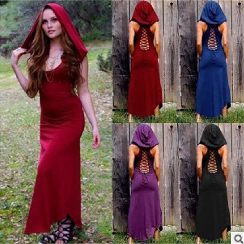 2019News Renaissance Witch Medieval Carnival Halloween Costume for Women Fancy Dress Retro Hollow Princess Adult Female Plus