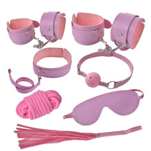 Adult Games 7pcs/set Pink Leather Fetish Bdsm Bondage Handcuffs Sex Whip Collar Erotic Toys For Couples