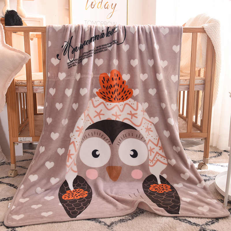 New Cartoon Penguin Pattern Blanket Thin and Light Soft Flannel Child Blanket Spring and Autumn Child Gift 1PCS