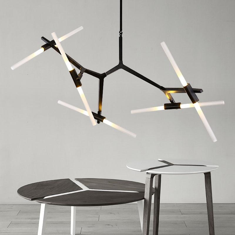 Dimmer Black Gold Herringbone Art Pendant Lights Living Room Dining Room Hotel Restaurant Bedroom LED Suspension