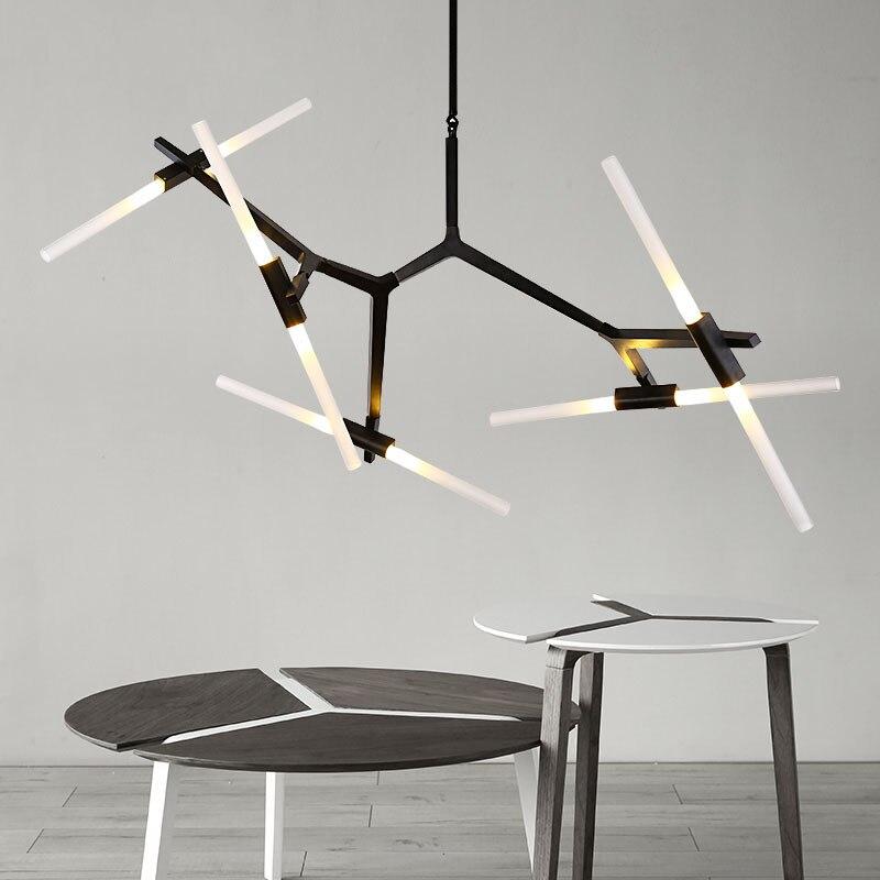 Variateur or noir chevrons Art pendentif lumières salon salle à manger hôtel Restaurant chambre LED Suspension Suspension lampe
