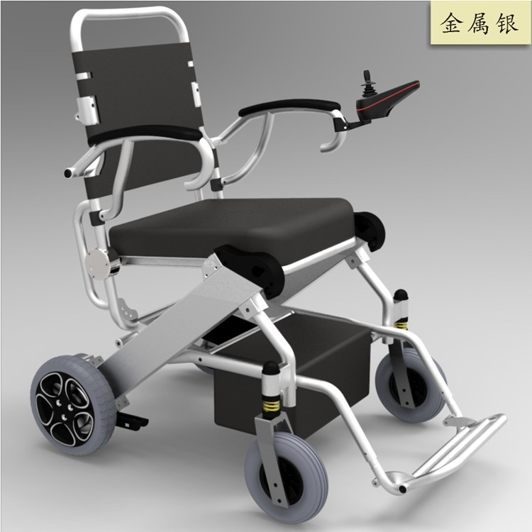 2019 new design factory direct foldable lightweight electrical wheelchair with double lithium battery