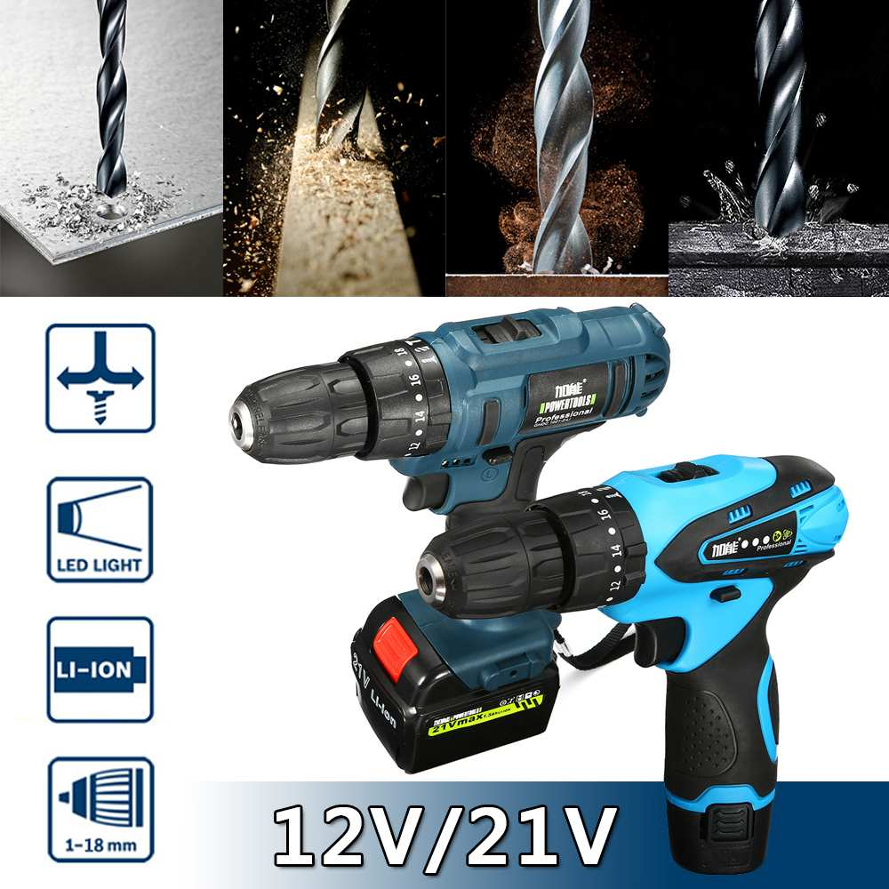 21V/12V Cordless Electric  Drill Screwdriver  Wireless Power Double Lithium-Ion Battery Electric Screwdriver Power Tools21V/12V Cordless Electric  Drill Screwdriver  Wireless Power Double Lithium-Ion Battery Electric Screwdriver Power Tools