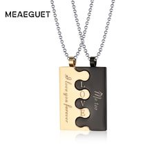 LOVE Letter Inital Pendant Couples Neckace For Women And Men Beads Chains Link 2pcc/set In Black Gold Stainless Steel Jewelry(China)