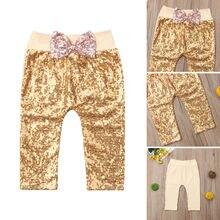 Pudcoco/ г. Новые брендовые Детские штаны принцессы с бантом для маленьких девочек, длинные штаны с блестками, леггинсы, брюки