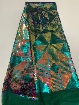 Multicolor Nigerian Lace Fabric High Quality African Lace Fabric For Wedding Dress French Tulle Lace With Sequins Materials CDF