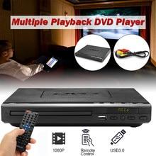 Портативный мультимедийный проигрыватель с USB, 110 В-240 В, DVD-плеер с несколькими функциями воспроизведения, DVD, CD, SVCD, VCD, Система домашнего кино...