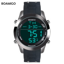 BOAMIGO Big Digital Watch Mens Fashion Waterproof Watch Men Rubber Electronic Wristwatches LED Watch Sport Shock Gift Clock 2018