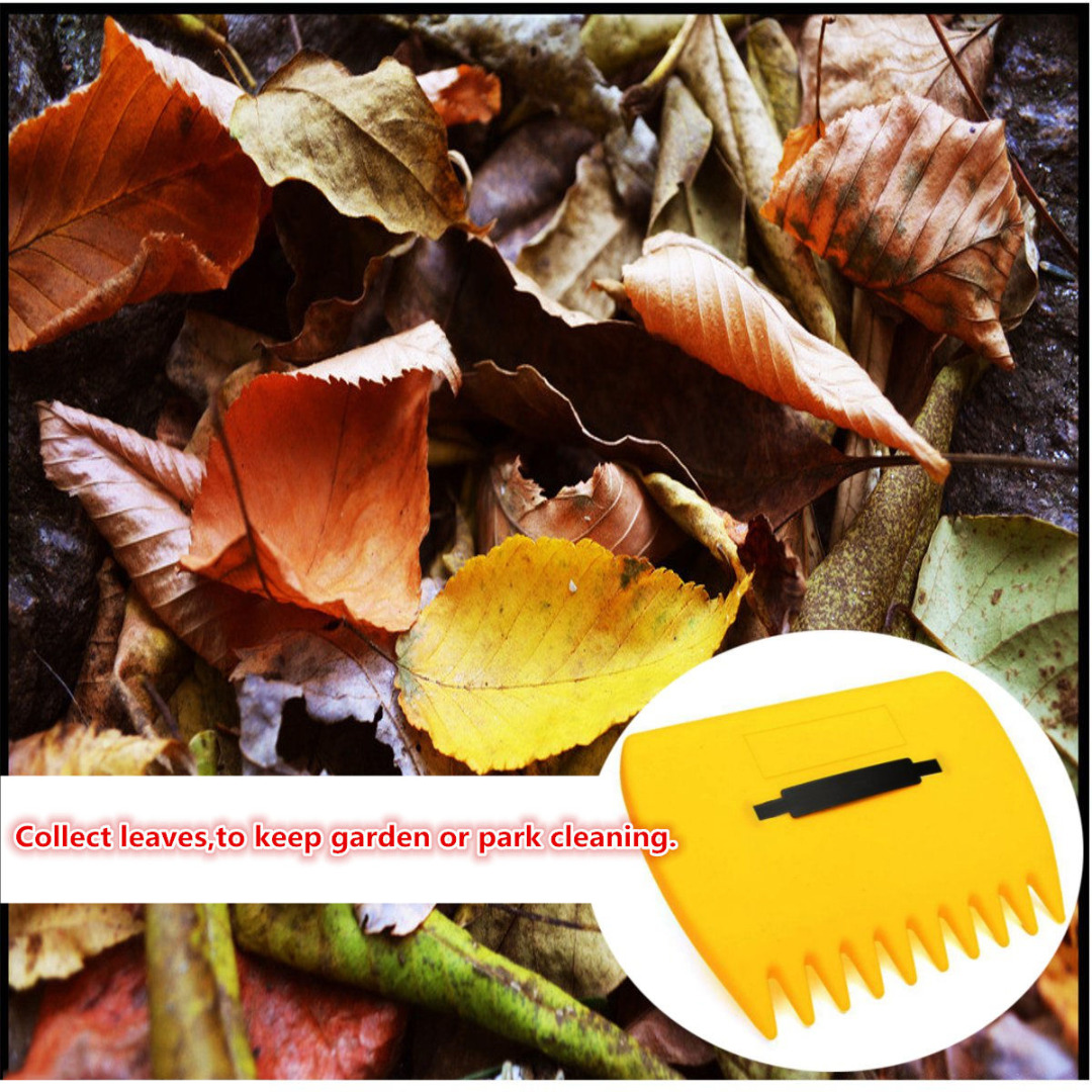DWZ 2Pcs/Pair Yellow Plastic Garden Yard Leaf Scoops Grass Hand Handy Rakes