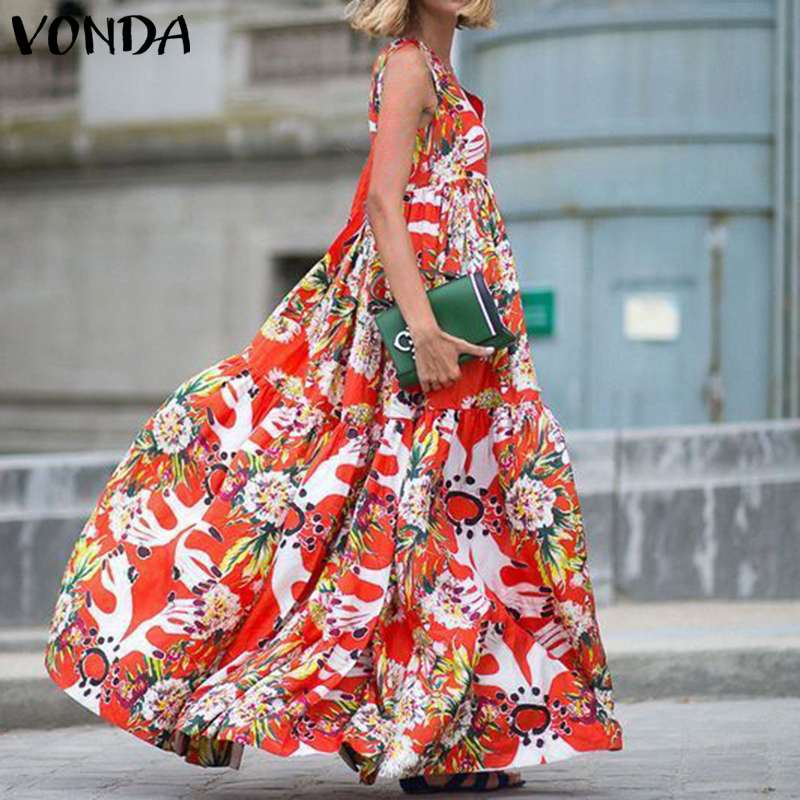 VONDA 2020 Women Summer <font><b>Dress</b></font> Sleeveless Beach Maxi Long <font><b>Dresses</b></font> <font><b>Sexy</b></font> <font><b>V</b></font> <font><b>Neck</b></font> Casual Loose Floral Print Vestido Plus Size image