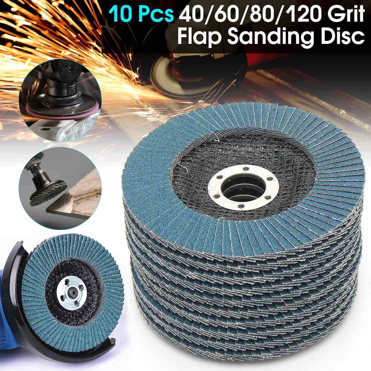 10pcs 40/60/80/120 Grit Grinding Wheels Flap Discs 5