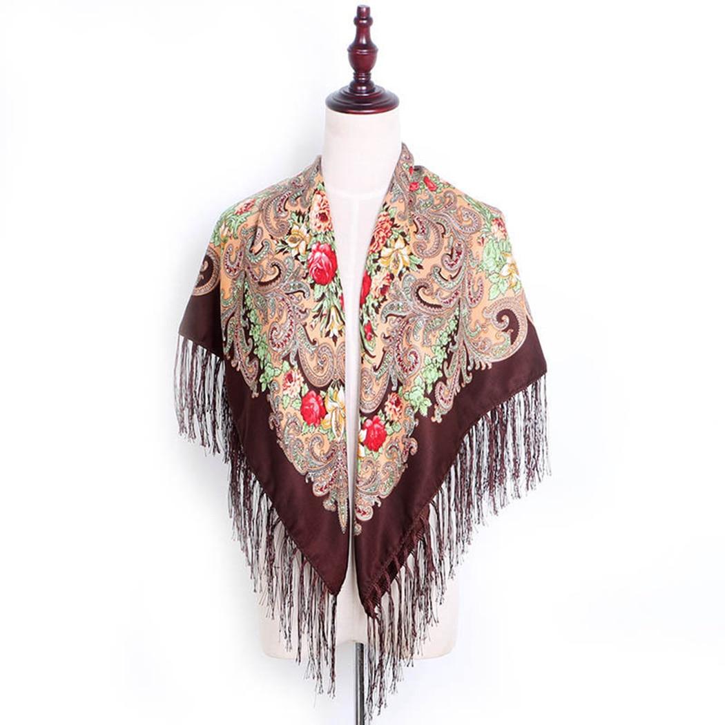 Russian Style   Scarf   Women Floral Print Tassel Square   Scarf   Retro Flower Cotton Shawl Fashion Ladies   Scarves     Wraps   13 Colors