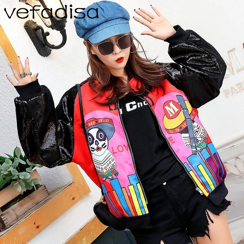 Vefadisa Sequin Patchwork   Jacket   Women Cartoon Printing   Basic     Jacket   Sequin Long Sleeve   Jacket   Thin Zipper Coat ZLD852