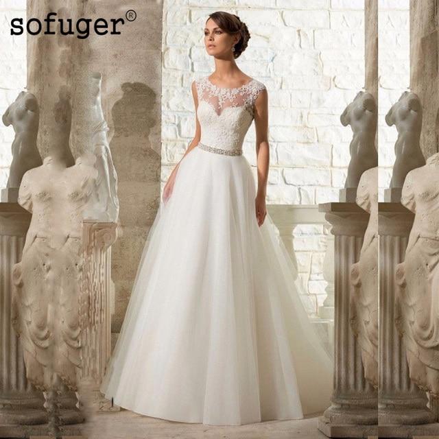 A Line Lace Beach Wedding Dress 2019 White Tulle Beading Organza Vestido De Noiva Appliques Plus Size Bride dresses