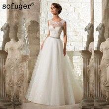 Sofuge High Quality Cheap A Line Lace Beach Wedding Dress White Long Tulle Beading Organza Vestido De Noiva Appliques Plus Size
