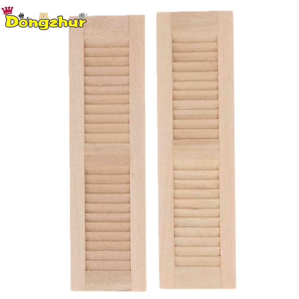 2Pcs/Set Handmade 1/12 Miniature Dollhouse Wooden Shutters DIY Window Furniture Accessories Toys for Children