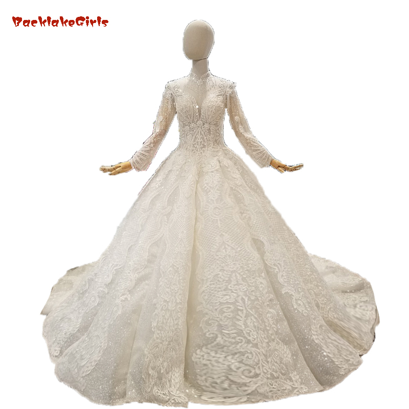 Lace Crystals Beaded Appliques Champange Wedding Dress For Girl Ball Gown 2019 Bridal Dress High Neck Crystals Vestido De Noiva