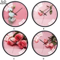 Rose Flower Pattern Round Modern Home Bedroom Art Wall 30.5cm/12.0inch Clock Multicolor