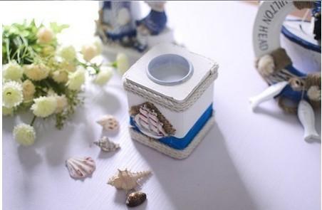 бесплатная доставка ретро морской стиль простой живопись деревянные чая светлый подсвечники для украшения дома