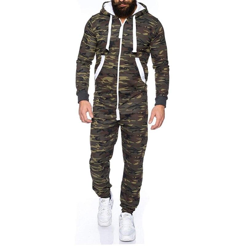 Gedisciplineerd 2018 Nieuwe Mannen Plus Size Kleding Camouflage Een Stuk Casual Wear Een Stuk Jumpsuit Rits Hooded Jasje Brede VariëTeiten