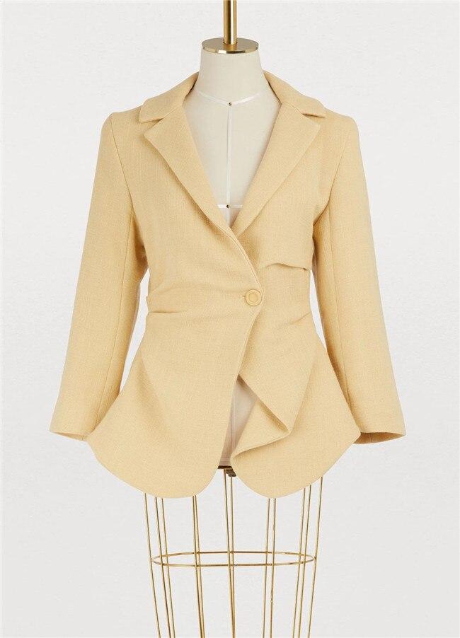 AEL Офисные женские туфли из хлопка и льна повседневный костюм, жакет нерегулярные Ruched Блейзер модная верхняя одежда Весна Высокое качество Для женщин Clothing2019