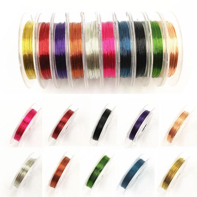 New Hot 0.3 millimetri * 10m Della Stringa Multicolore Filo di Perline FAI DA TE 1 Rotolo di Filo di Rame Gioelleria raffinata e alla moda Che Fanno Accessori Cavo