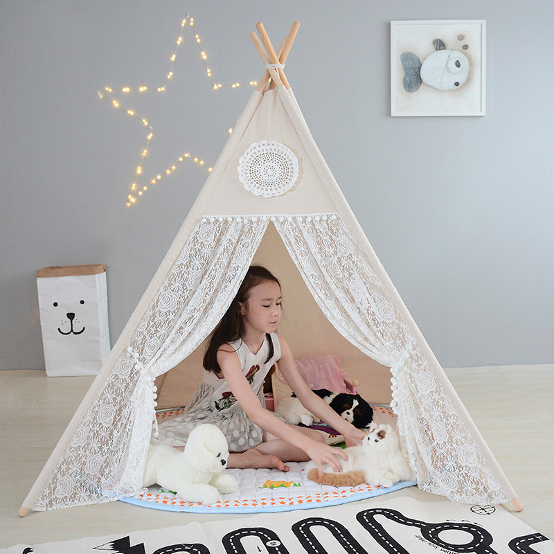 Children Tent Four Poles Cotton Lace Tipi Tent For Girl Play Tent For Kid Wigwam Teepee Baby Cabin Princess Castle Birthday Gift image