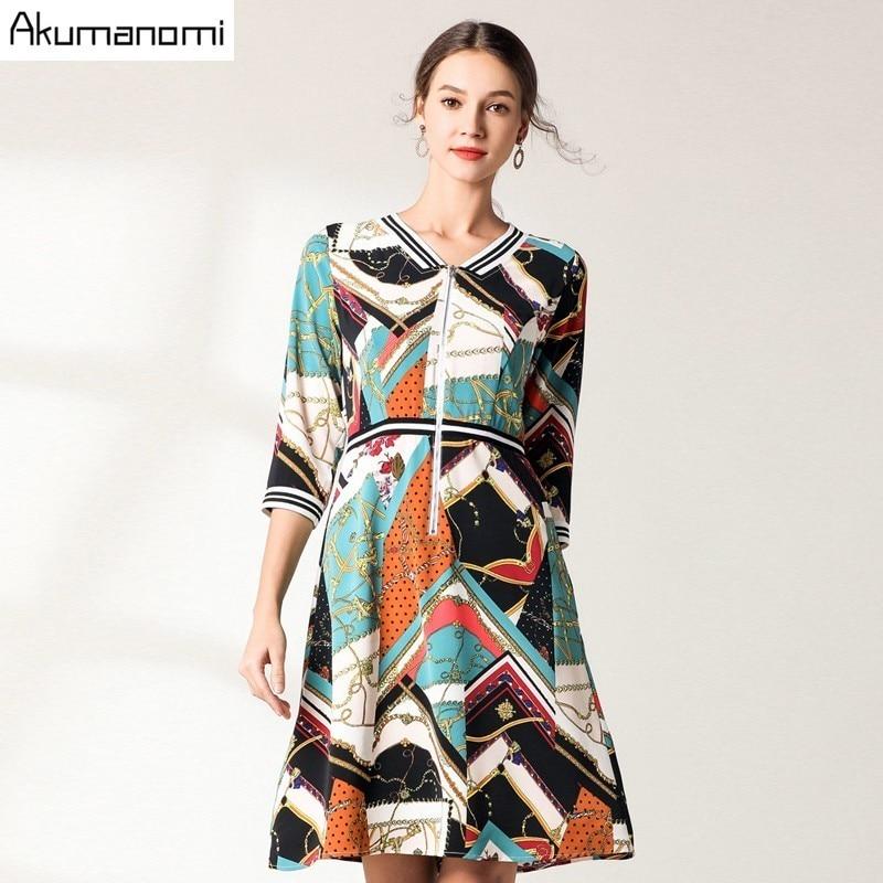 Mousseline de soie décontracté géométrique imprimer trois quarts manches printemps élégant dames robe Zipper col en v robes de grande taille de fête