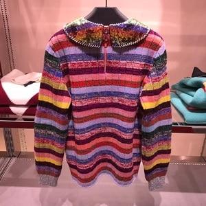 Image 2 - Suéter de lujo con lentejuelas de arco iris para mujer, jerséis con cuello para mujer, de diseñador de pasarela a rayas, jerséis de Navidad para mujer, ropa de Jersey 2020
