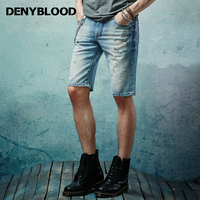 Denyblood Jeans Mens Distressed Jeans Ripped Short Pants Denim Hole Patchwork Vintage Capris Casual Shorts Bermuda 14507S