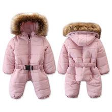 Популярные зимние теплые детские комбинезоны для маленьких девочек; зимняя одежда; высококачественные куртки для маленьких девочек; комбинезоны с капюшоном; пальто