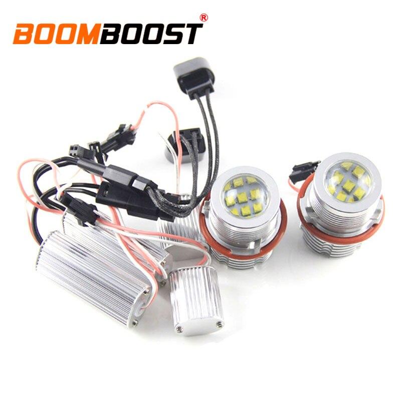 NEW one pair 12V 60W LED Angel Eyes Light White Car Headlight Bulb For BMW E87 E60 E63 E65 E66 X5 E53 E3 Led marker light