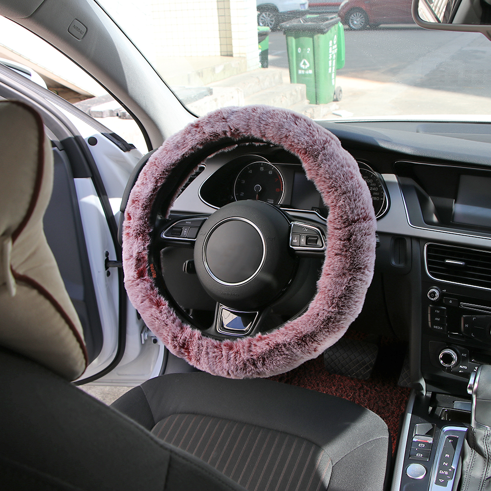 Onever Winter Super Soft Plush Car Steering Wheel Cover Universal Warm Auto Handlebar on the Steering-Wheel