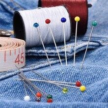 Модные швейные иглы 38 мм, цветная стеклянная головка, бусина, булавка, иглы для вязания, швейные фиксированные безопасные булавки «сделай са...