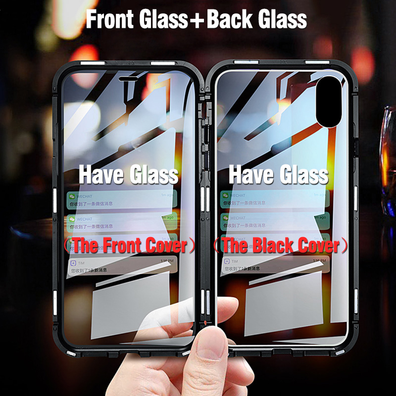 Image 2 - Double sided glass Metal Magnetic Case for iPhone X 10 XS MAX XR Glass Case Magnet Cover 360 Full Protection For iphone XS Max-in Fitted Cases from Cellphones & Telecommunications