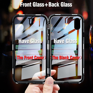 Image 2 - Double sided glass Metal Magnetic Case for iPhone X 10 XS MAX XR Glass Case Magnet Cover 360 Full Protection For iphone XS Max