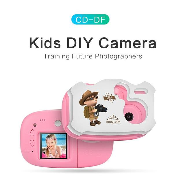 Amkov 1.44 Inch Mini Children Digital Camera With Cartoon Stickers Kids DIY Cameras with Multiple Language support TF/SD Card
