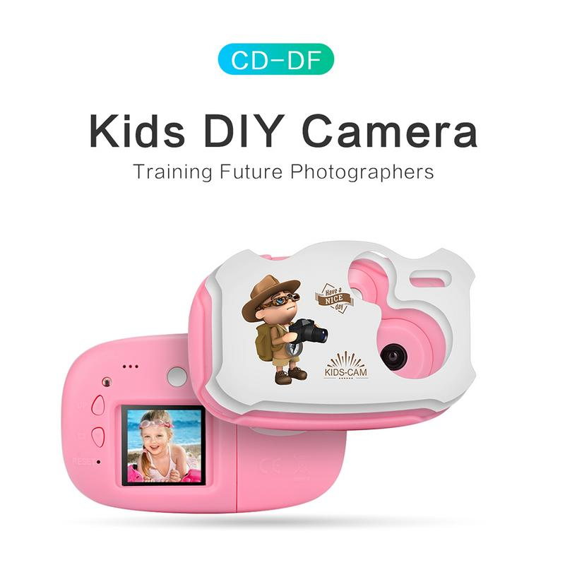 Amkov 1.44 Inch Mini Children Digital Camera With Cartoon Stickers Kids DIY Cameras with Multiple Language support TF/SD Card image