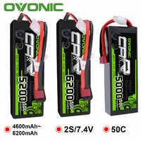 2 Packs OVONIC RC Car Batteries 6200mAh 5200mAh 5000mAh 4600mAh Lipo 2S Battery 7.4V with Deans Plug for Car Boat Heli Quad