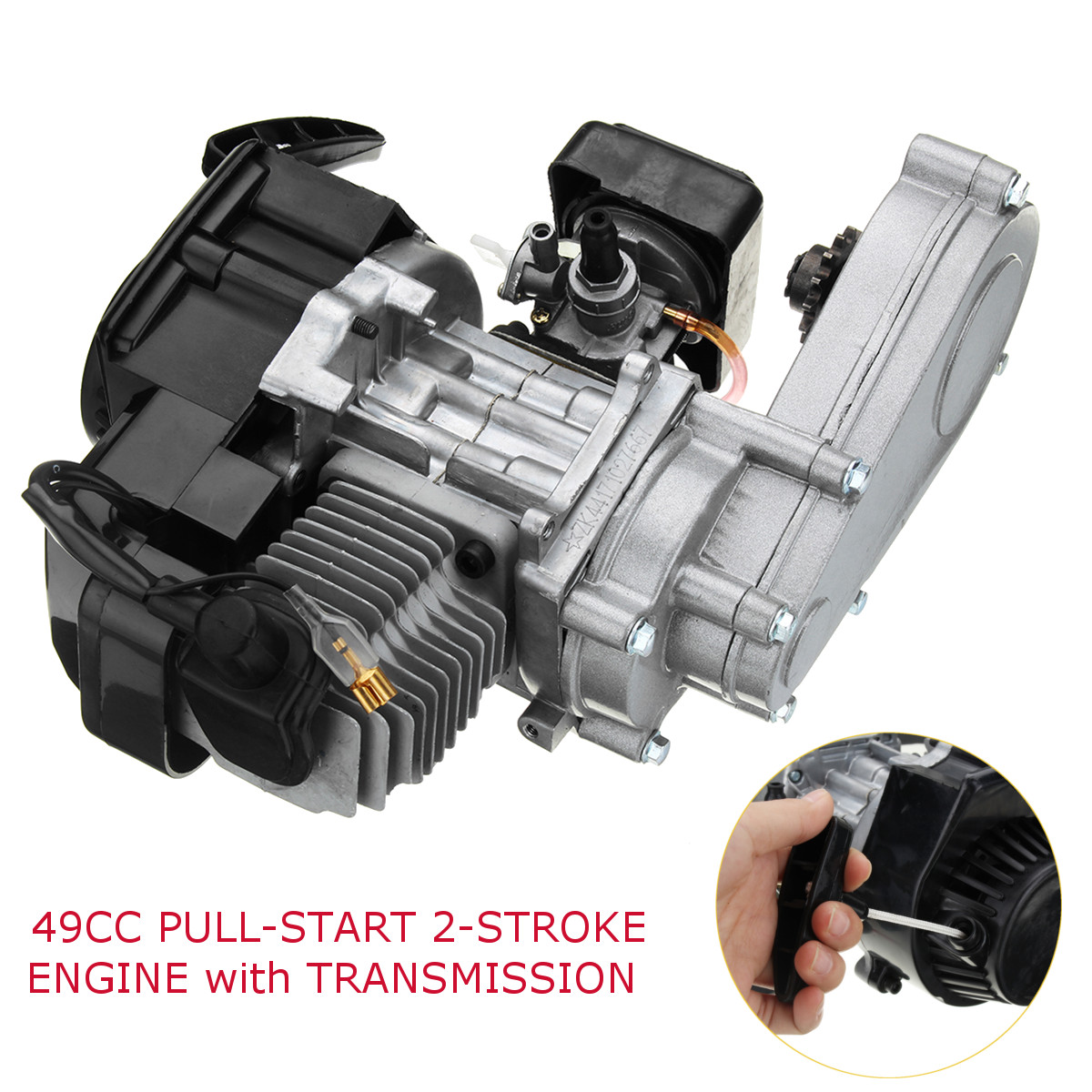 49cc Engine 2-Stroke Motor with Transmission For Pocket Bike Mini ATV Scooter Motorcycle49cc Engine 2-Stroke Motor with Transmission For Pocket Bike Mini ATV Scooter Motorcycle