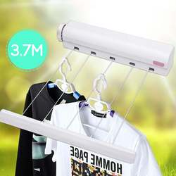 3.7M 5 Line Retractable Clothes Airer Washing Line Laundry Wall Mount Dryer Hanger Clothesline Outdoor Washing Line Drying Rack